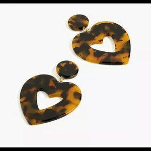 NWT J. Crew Brown Tortoise Heart Earrings Dust Bag
